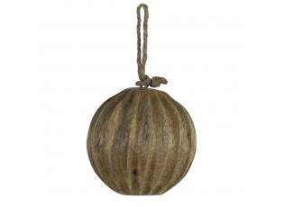 Dekorační závěsná dřevěná koule s vyrytými žebry - Ø 10cm