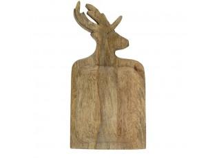Mísa z mangového dřeva s vyřezávaným jelenem 41cm - 21*41,5*2cm
