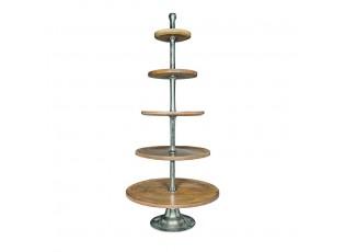 Dřevěno-kovový servírovací 5-patrový etažér Silb - Ø 75*170cm