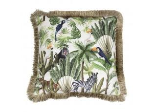 Sametový polštář s třásněmi Jungle - 45*45*10cm