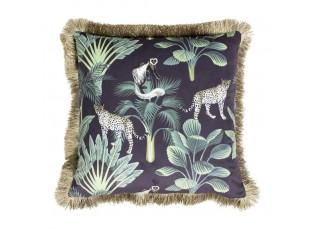Černý sametový polštář s třásněmi Jungle - 45*45*10cm