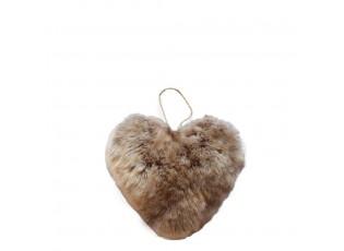 Závěsná dekorativní ozdoba chlupatého hnědého srdce - 10*5*10cm