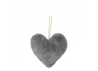 Závěsná dekorativní ozdoba šedé srdce - 10*5*10cm