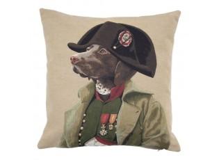 Béžový gobelínový polštář s motivem psa v napoleonské uniformě - 45*15*45cm