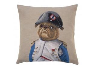 Béžový gobelínový polštář s motivem Buldočka v napoleonské uniformě - 45*15*45cm
