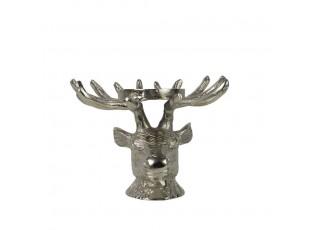Stříbrný kovový svícen hlava Jelena  - 21*21*16cm