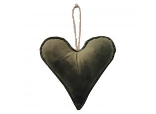 Zelené sametové závěsné srdce - 16*18*5cm