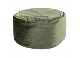Mechově zelený sametový kulatý puf Copper - 60*60*30cm