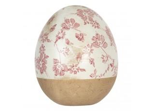 Dekorativní bílo růžové vajíčko s květy - Ø 14*16 cm