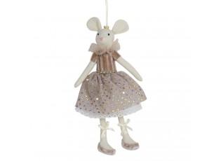 Závěsná dekorační myš v šatech se třpytkami Lotte - 24 cm