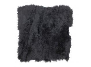 Černý chlupatý kožený podsedák Sity - 40*40*2cm