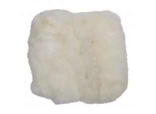 Bílý chlupatý kožený podsedák Sity - 40*40*2cm