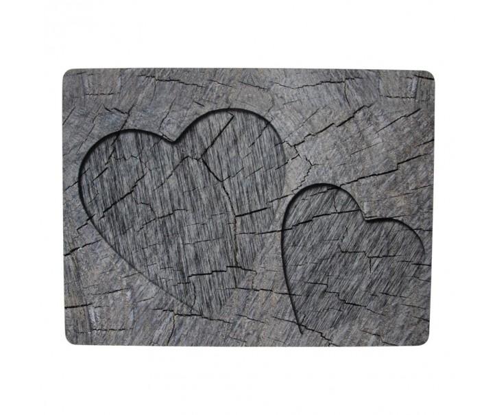 4ks šedé korkové prostírání srdce ve stromu Hearts grey - 30*40*0,4cm