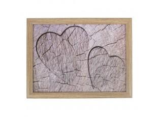 Podnos na nohy s motivem srdce ve stromu Hearts grey - 43*33*7cm