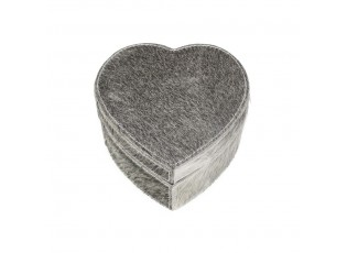 Šedý box z hovězí kůže ve tvaru srdce  - 15*15*8cm