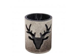Skleněný svícen s koženým ovinutím a jelenem - Ø 11,5*15,5cm