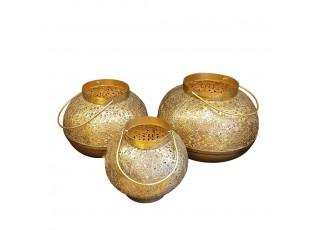 Marakéšské lucerny ve zlaté barvě - 18*18*17cm/ 22*22*18cm/ 26*26*19cm