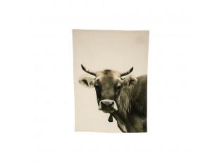 Béžová bavlněná utěrka s mmotivem švýcarské krávy - 70*50cm