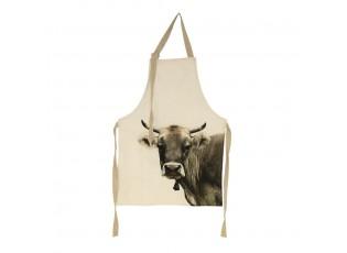 Béžová zástěra s motive švýcarské krávy - 83*61*0,3cm
