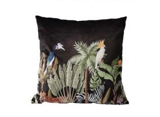Černý sametový polštář Jungle Cacadu - 45*45*10cm