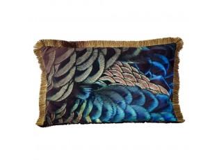 Sametový polštář s pavími pery a třásněmi - 40*60*10cm