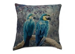 Sametový polštář s papoušky modrá Ara - 45*45*15cm