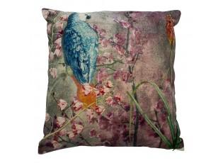 Modro- růžový sametový polštář okouzlující papoušek  - 45*45*15cm