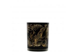 Černý svícen na čajovou svíčku s papoušky - Ø 7*8cm