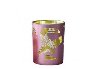 Růžový svícen na čajovou svíčku Toucan S - 7*7*8cm