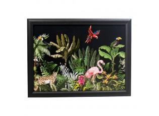 Černý podnos na nohy s motivem džungle Jungle black - 43*33*7cm