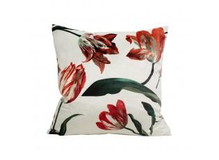 Bílý sametový polštář s tulipány - 45*45*10cm