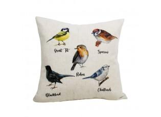 Lněný polštář ptáčci Garden birds - 45*45*10cm