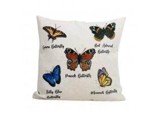 Bílý lněný polštář s potiskem motýlů - 45*45*10cm