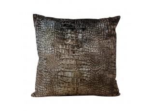Hnědý sametový polštář s imitací krokodýlí kůže - 45*45*10cm