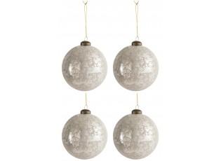 4ks vánoční stříbrno-oříšková skleněná ozdoba - Ø10 cm