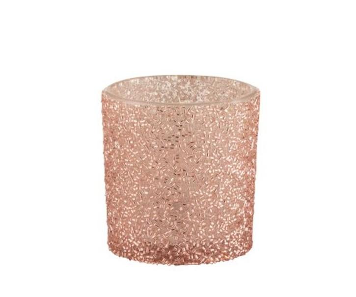Růžový skleněný svícen Pearl pink - Ø 7*8 cm