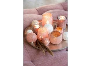 Růžový skleněný svícen Pearl pink - Ø 10*12cm