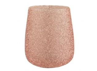 Růžový skleněný svícen Pearl pink - Ø 15*18cm