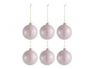 6ks vánoční růžová skleněná ozdoba s glitry - Ø 8cm