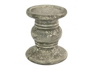 Šedý cementový svícen s patinou Kandel - Ø 13*22cm