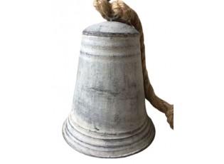 Šedý plechový zvonek s patinou a šňůrkou - Ø 7*10 cm