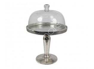 Kovový ozdobný podnos se skleněným krytem - Ø29*42 cm