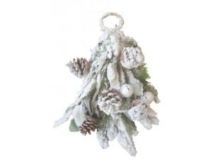 Vánoční závěsná zasněžená větvička s rolničkami - 50cm