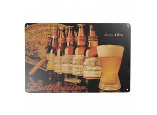 Nástěnná kovová cedule Budweiser - 20*30 cm