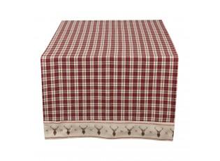 Béžový běhoun na stůl s jeleny Cosy Lodge - 50*140 cm