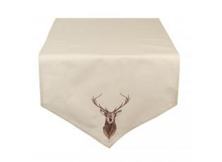 Béžový běhoun na stůl s jelenem Cosy Lodge - 50*160 cm