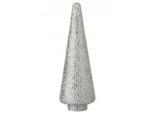 Stříbrno - bílý skleněný stromek  Mosaic - Ø 13*41cm