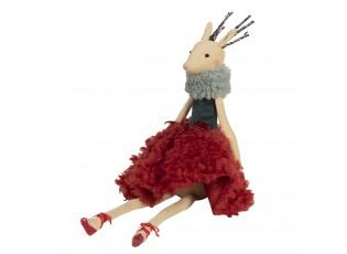 Sedící dáma laň v červené sukni Lotte - 19*19*40 cm