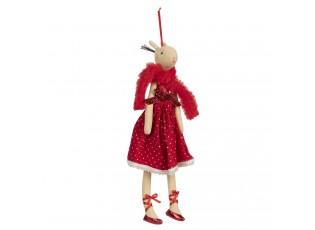 Závěsná dekorační dáma laň v červených šatech Lotte - 33 cm