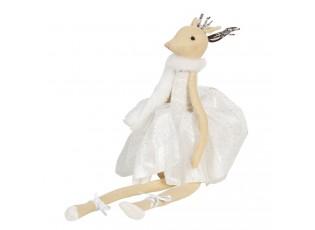 Sedící dáma laň v bílých nařasených šatech Lotte - 19*19*40 cm
